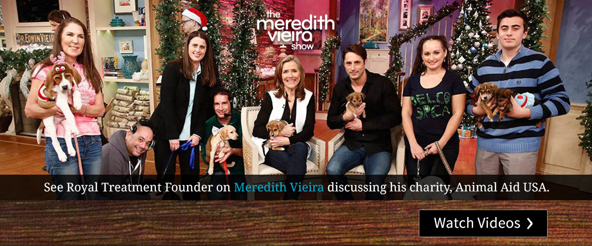 See Royal Treatment founder on Meredith Vieira, discussing his charity Animal Aid USA